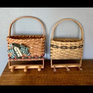 Vintage Accents - Pair Vintage Handmade Basket Wall Decor With Knobs
